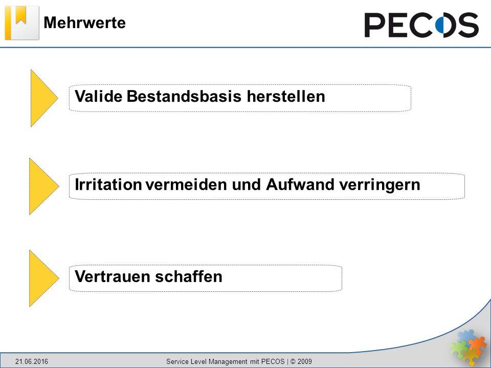 Mehrwerte 21.06.2016 Service Level Management mit PECOS | © 2009 Valide Bestandsbasis herstellen Irritation vermeiden und Aufwand verringern Vertrauen schaffen