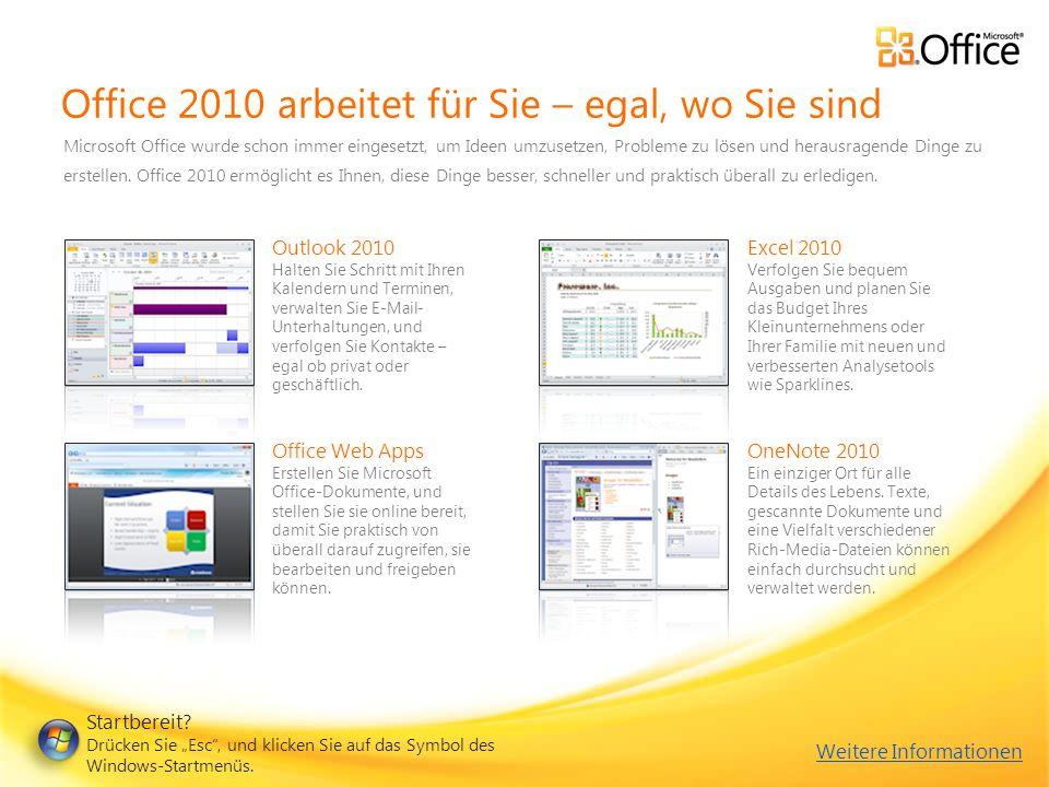 Office 2010 arbeitet für Sie – egal, wo Sie sind Microsoft Office wurde schon immer eingesetzt, um Ideen umzusetzen, Probleme zu lösen und herausragende Dinge zu erstellen.