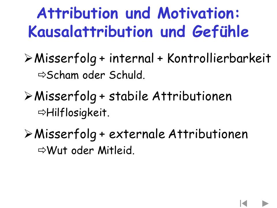 Attribution und Motivation: Kausalattribution und Gefühle  Misserfolg + internal + Kontrollierbarkeit  Scham oder Schuld.  Misserfolg + stabile Att