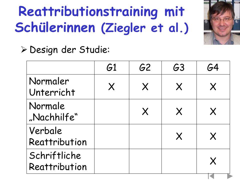 """Reattributionstraining mit Schülerinnen (Ziegler et al.)  Design der Studie: X Schriftliche Reattribution XX Verbale Reattribution XXX Normale """"Nachh"""
