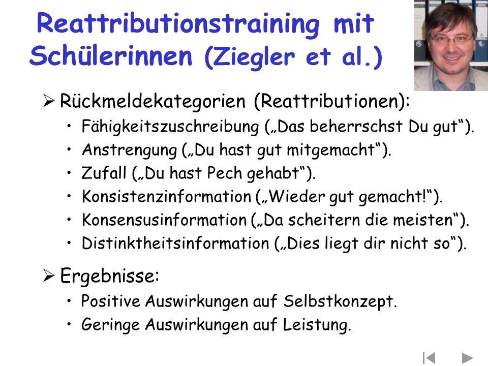 """Reattributionstraining mit Schülerinnen (Ziegler et al.)  Rückmeldekategorien (Reattributionen): Fähigkeitszuschreibung (""""Das beherrschst Du gut""""). A"""