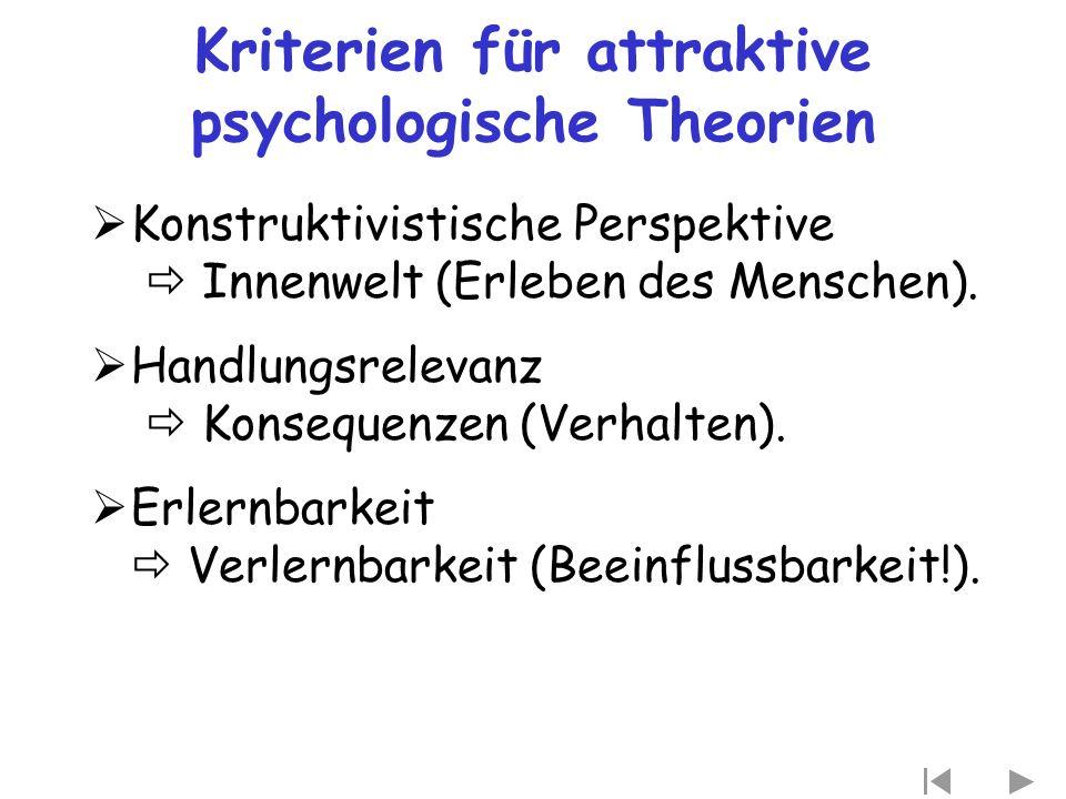 Kriterien für attraktive psychologische Theorien  Konstruktivistische Perspektive  Innenwelt (Erleben des Menschen).  Handlungsrelevanz  Konsequen
