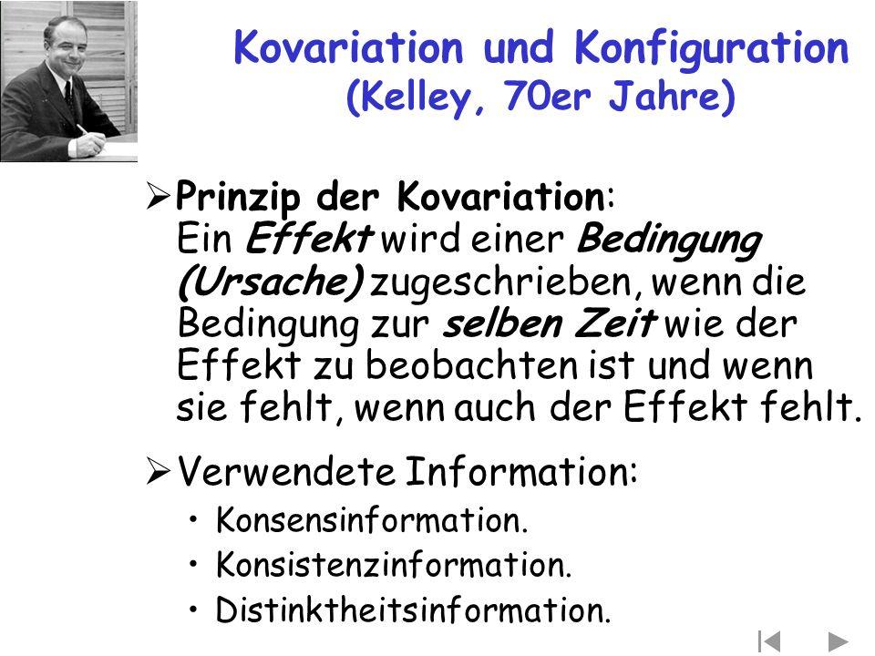 Kovariation und Konfiguration (Kelley, 70er Jahre)  Prinzip der Kovariation: Ein Effekt wird einer Bedingung (Ursache) zugeschrieben, wenn die Beding