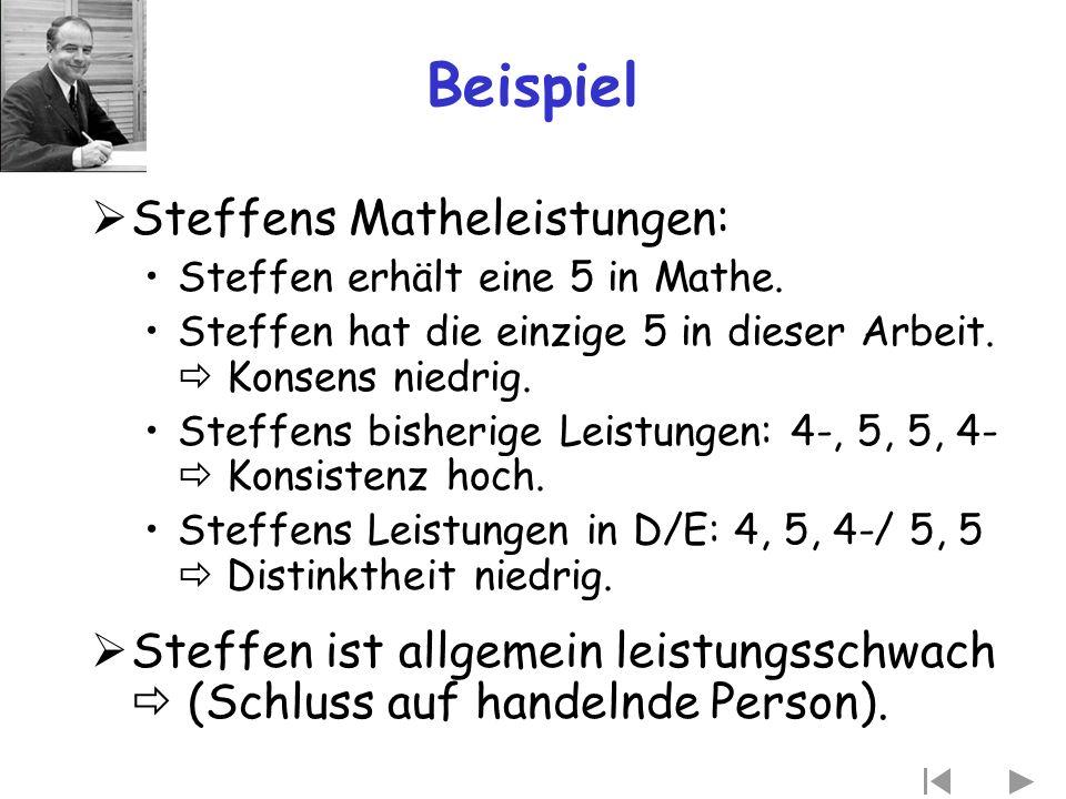 Beispiel  Steffens Matheleistungen: Steffen erhält eine 5 in Mathe. Steffen hat die einzige 5 in dieser Arbeit.  Konsens niedrig. Steffens bisherige