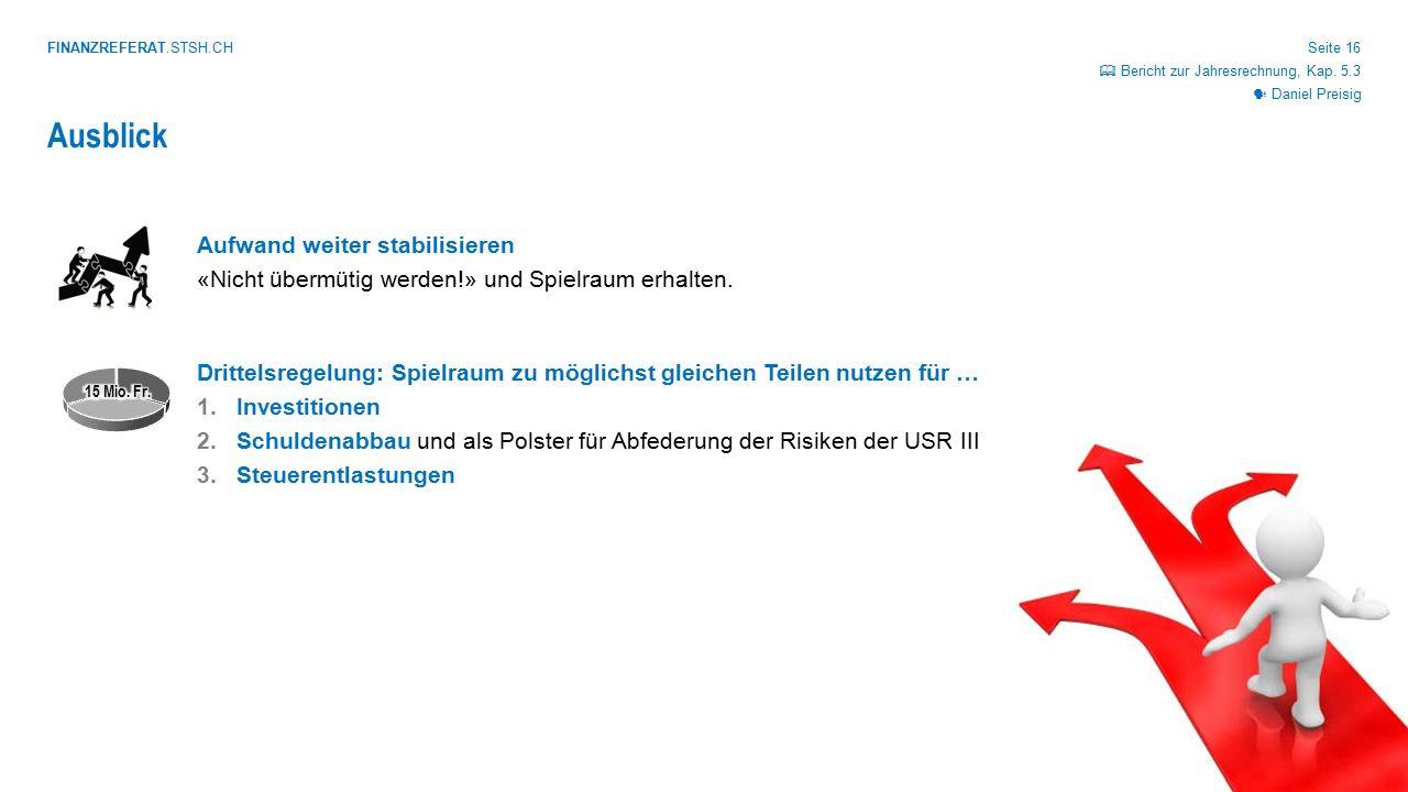 FINANZREFERAT.STSH.CH Seite 16 Ausblick Daniel Preisig  Bericht zur Jahresrechnung, Kap. 5.3
