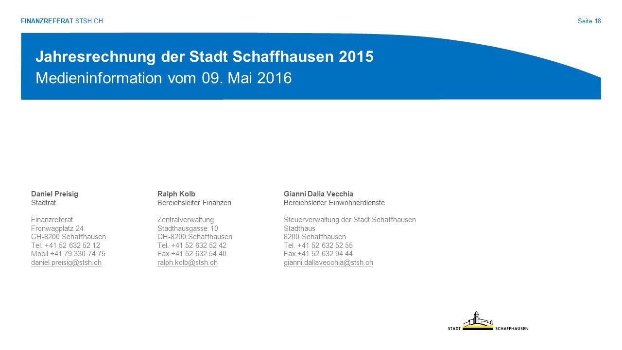 FINANZREFERAT.STSH.CH Seite 18 Jahresrechnung der Stadt Schaffhausen 2015 Medieninformation vom 09. Mai 2016 Daniel Preisig Stadtrat Finanzreferat Fro