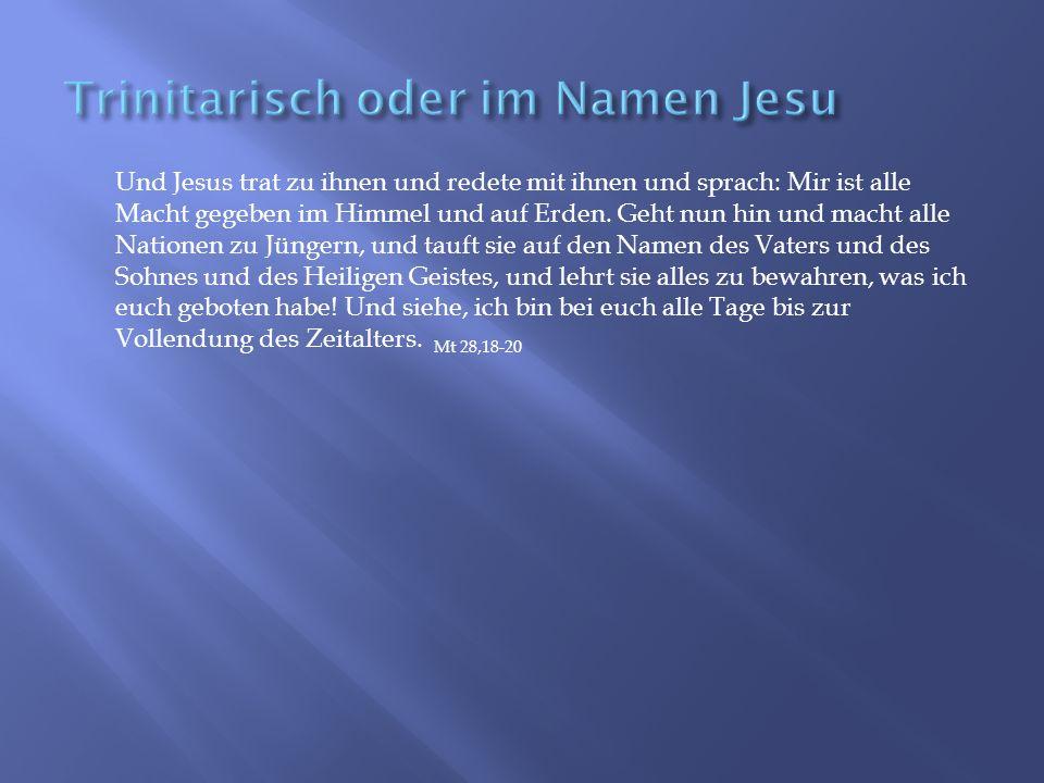 Und Jesus trat zu ihnen und redete mit ihnen und sprach: Mir ist alle Macht gegeben im Himmel und auf Erden.