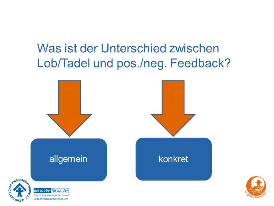 Was ist der Unterschied zwischen Lob/Tadel und pos./neg. Feedback? allgemein konkret