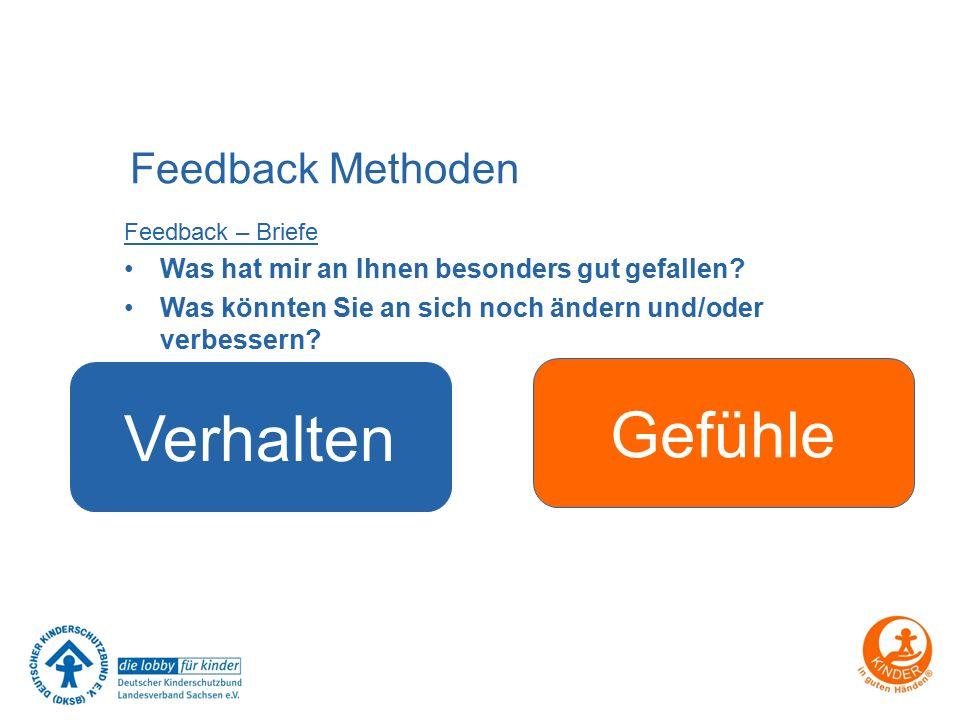 Feedback Methoden Feedback – Briefe Was hat mir an Ihnen besonders gut gefallen? Was könnten Sie an sich noch ändern und/oder verbessern? Verhalten Ge