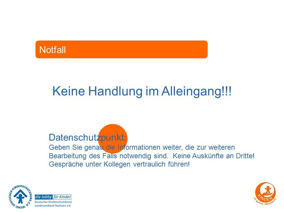 Notfall Keine Handlung im Alleingang!!! Datenschutzpunkt: Geben Sie genau die Informationen weiter, die zur weiteren Bearbeitung des Falls notwendig s