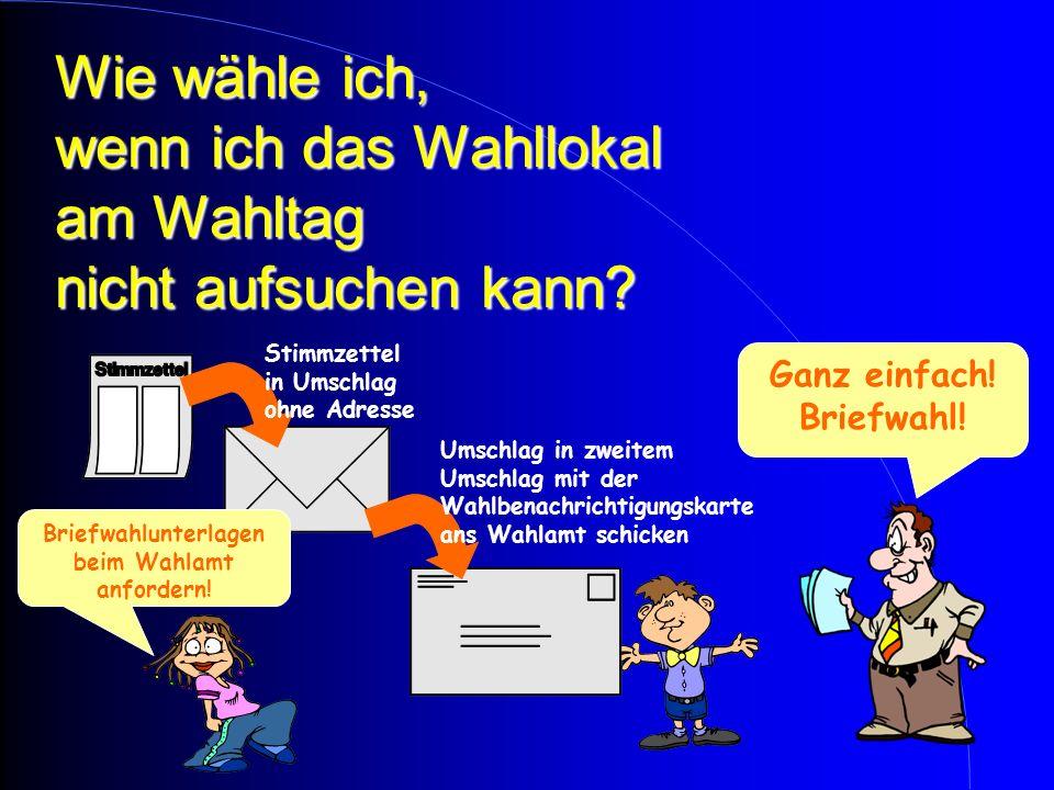 WAHLLOKAL Wie wähle ich? Wahlbenachrichtigungs- karte und Ausweis vorlegen. überprüft im Wählerverzeichnis Stimmzettel UmschlagWahl: Ankreuzen des Sti