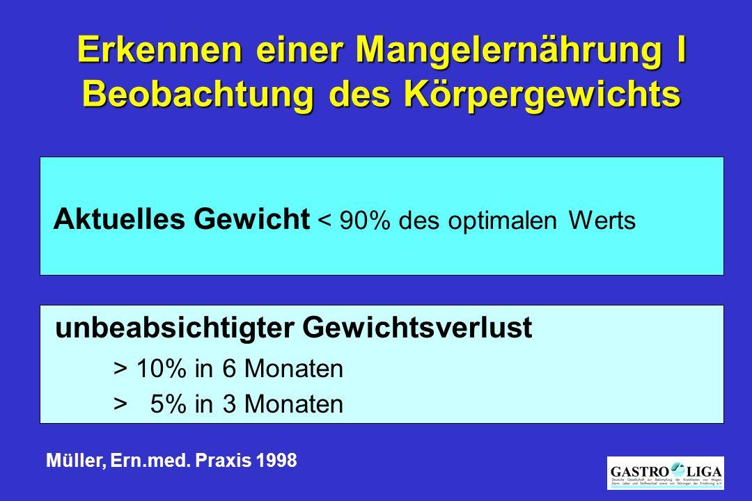 Erkennen einer Mangelernährung I Beobachtung des Körpergewichts Aktuelles Gewicht < 90% des optimalen Werts unbeabsichtigter Gewichtsverlust > 10% in 6 Monaten > 5% in 3 Monaten Müller, Ern.med.