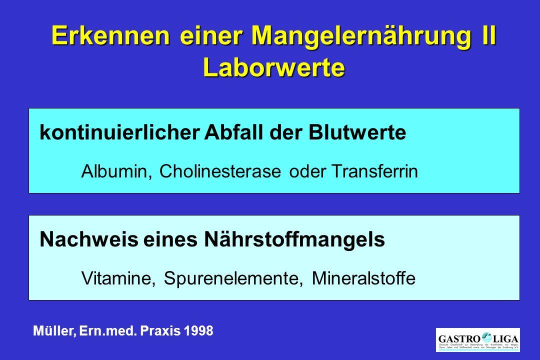 Nachweis eines Nährstoffmangels Vitamine, Spurenelemente, Mineralstoffe kontinuierlicher Abfall der Blutwerte Albumin, Cholinesterase oder Transferrin Müller, Ern.med.