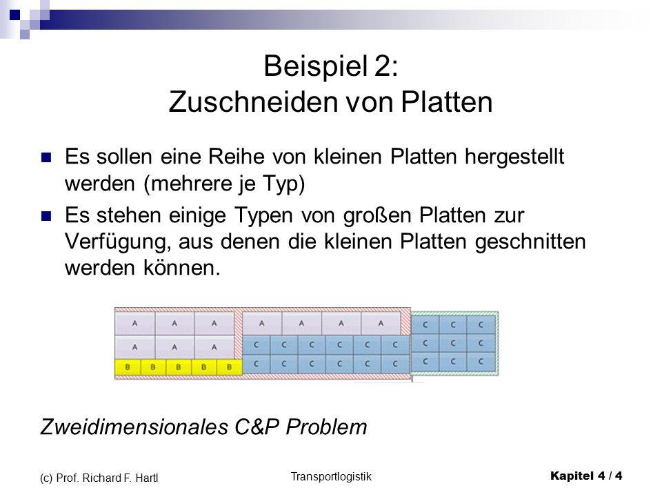 Inhalt 5.1 Einleitung/Beispiele 5.2 Typologie & Begriffe 5.3 Eindimensionale Probleme 5.4 Zweidimensionale Probleme 5.5 Dreidimensionale Probleme Transportlogistik Kapitel 4 / 25 (c) Prof.