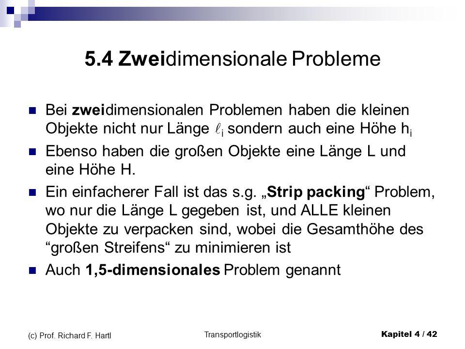 5.4 Zweidimensionale Probleme Bei zweidimensionalen Problemen haben die kleinen Objekte nicht nur Länge i sondern auch eine Höhe h i Ebenso haben die großen Objekte eine Länge L und eine Höhe H.