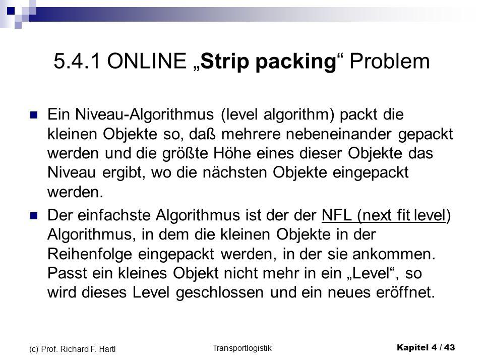 """5.4.1 ONLINE """"Strip packing Problem Ein Niveau-Algorithmus (level algorithm) packt die kleinen Objekte so, daß mehrere nebeneinander gepackt werden und die größte Höhe eines dieser Objekte das Niveau ergibt, wo die nächsten Objekte eingepackt werden."""