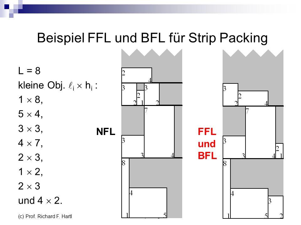Beispiel FFL und BFL für Strip Packing L = 8 kleine Obj.