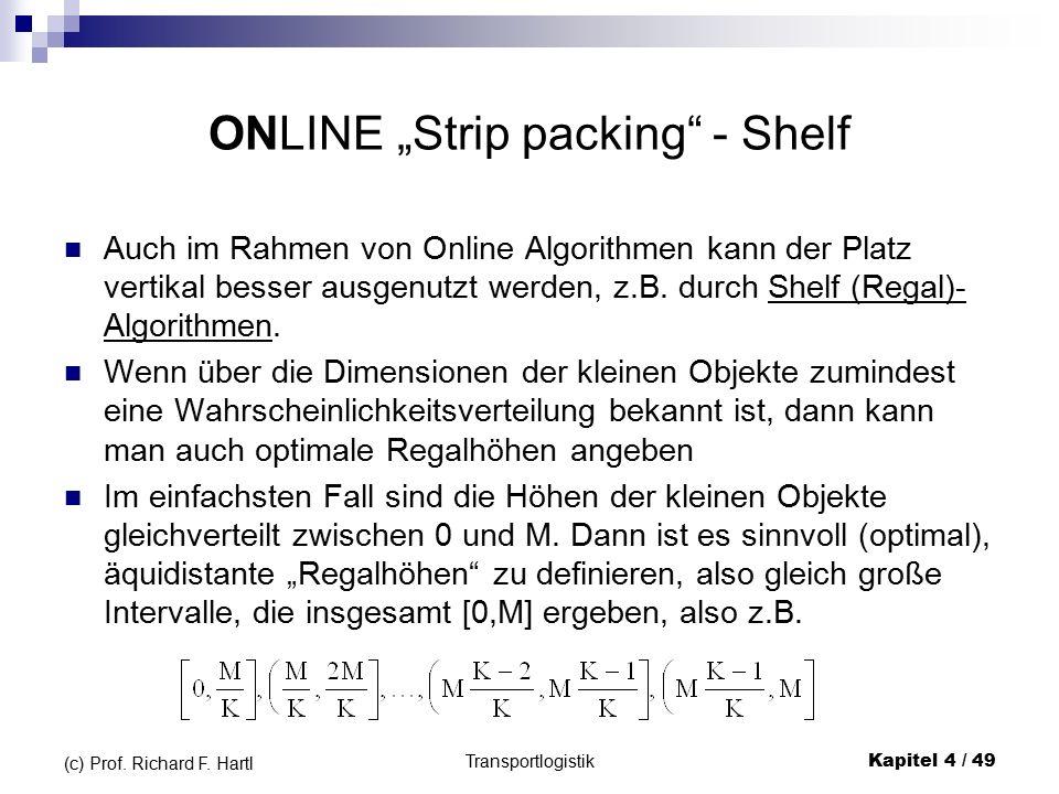 """ONLINE """"Strip packing - Shelf Auch im Rahmen von Online Algorithmen kann der Platz vertikal besser ausgenutzt werden, z.B."""