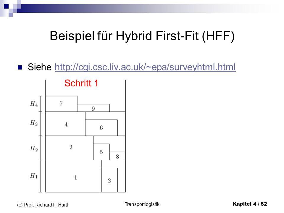 Beispiel für Hybrid First-Fit (HFF) Siehe http://cgi.csc.liv.ac.uk/~epa/surveyhtml.htmlhttp://cgi.csc.liv.ac.uk/~epa/surveyhtml.html Transportlogistik Kapitel 4 / 52 (c) Prof.