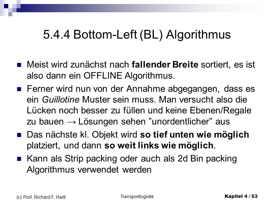 5.4.4 Bottom-Left (BL) Algorithmus Meist wird zunächst nach fallender Breite sortiert, es ist also dann ein OFFLINE Algorithmus.