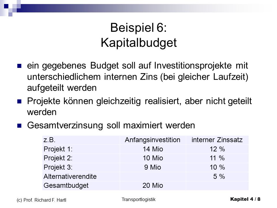 Transportlogistik Kapitel 4 / 8 (c) Prof. Richard F.