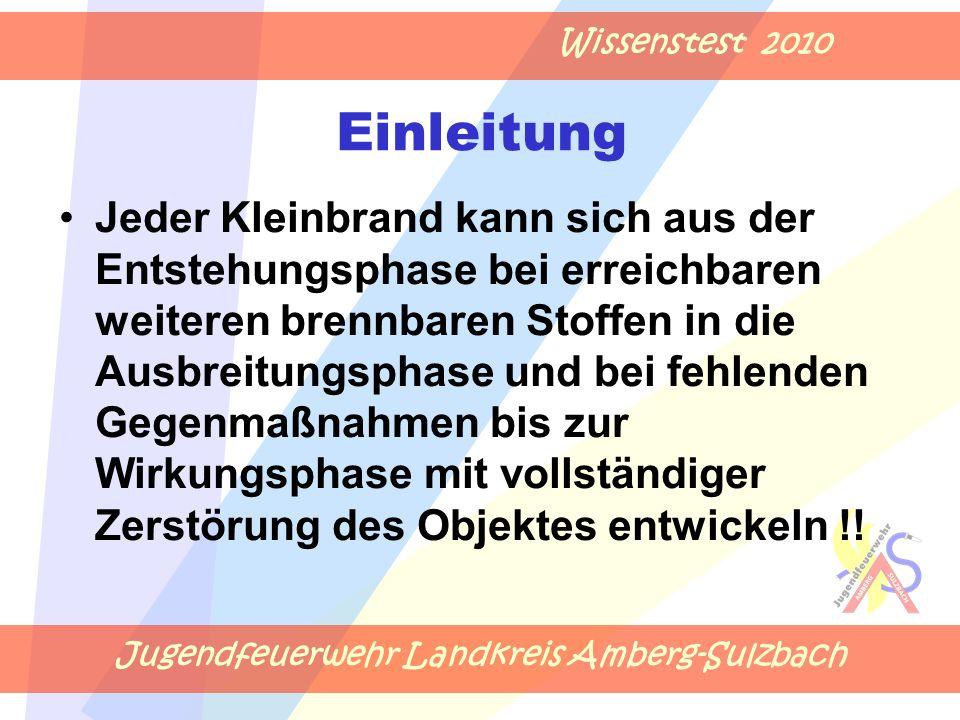 Jugendfeuerwehr Landkreis Amberg-Sulzbach Wissenstest 2010 Einleitung Jeder Kleinbrand kann sich aus der Entstehungsphase bei erreichbaren weiteren br