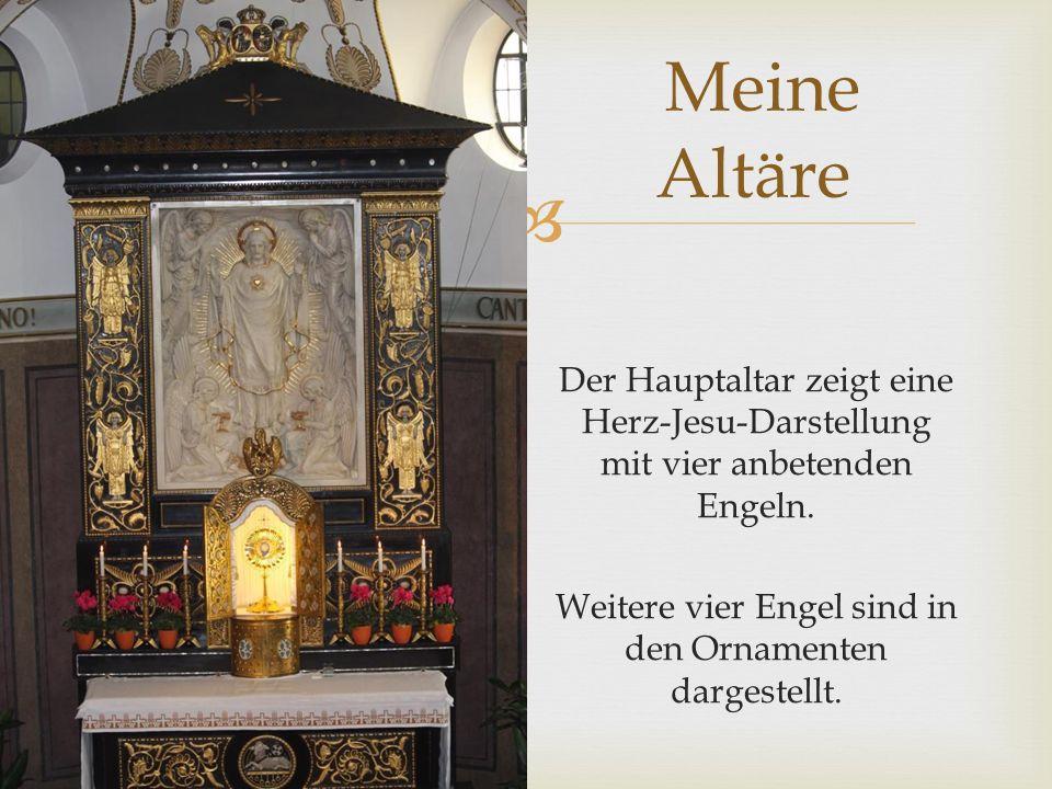  Der Hauptaltar zeigt eine Herz-Jesu-Darstellung mit vier anbetenden Engeln.
