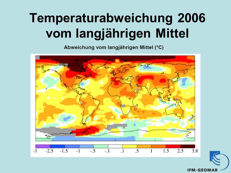 Temperaturabweichung 2006 vom langjährigen Mittel Abweichung vom langjährigen Mittel (°C)