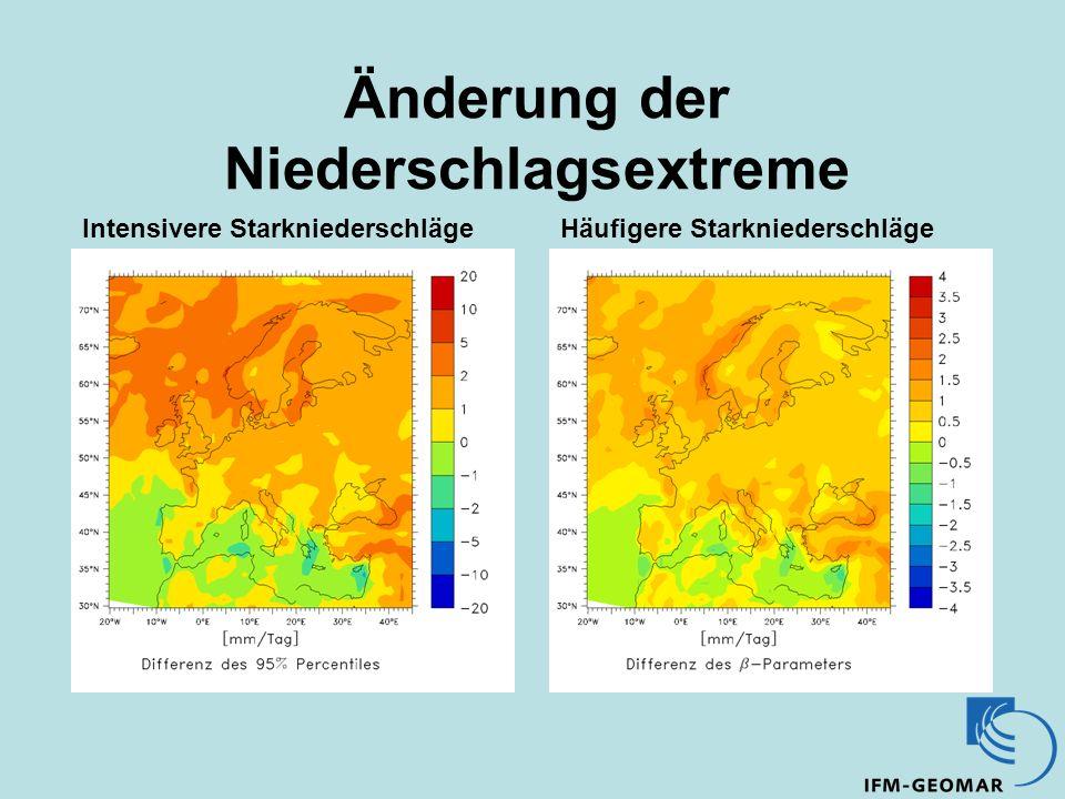 Änderung der Niederschlagsextreme Intensivere StarkniederschlägeHäufigere Starkniederschläge