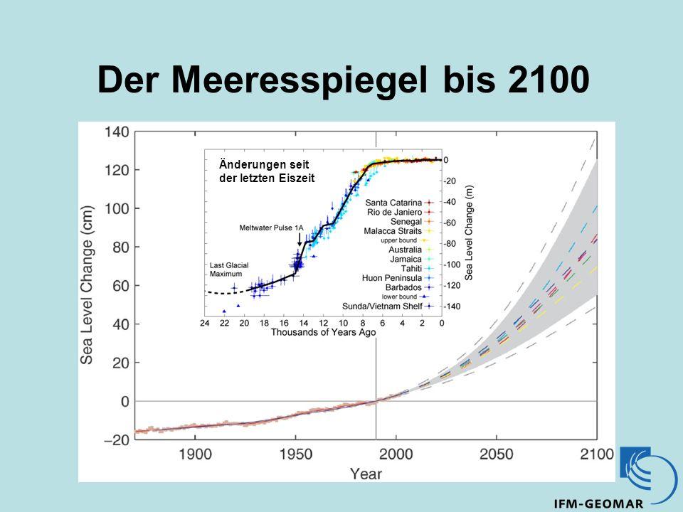 Der Meeresspiegel bis 2100 Änderungen seit der letzten Eiszeit