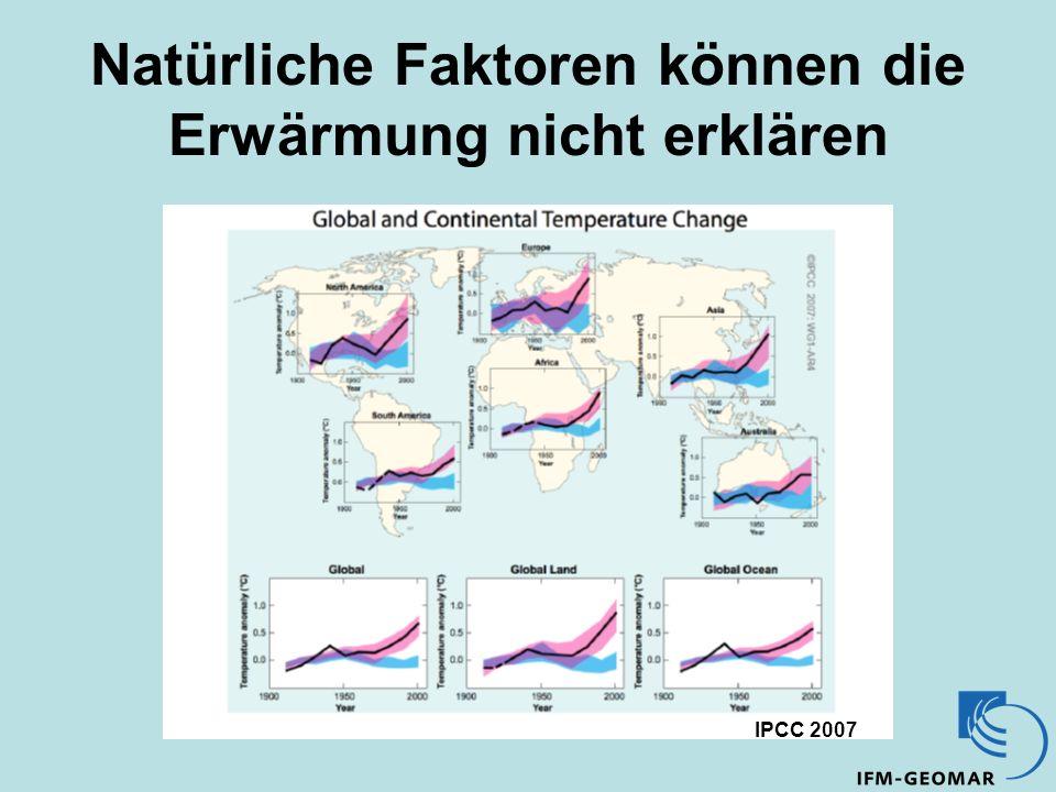 Natürliche Faktoren können die Erwärmung nicht erklären IPCC 2007