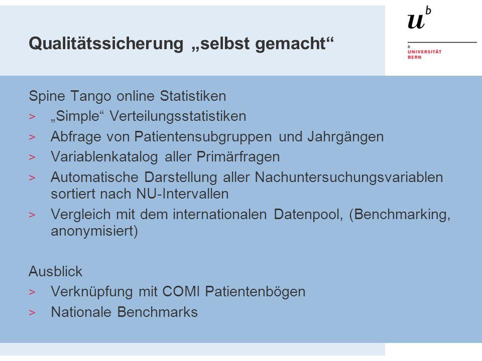 """Qualitätssicherung """"selbst gemacht"""" Spine Tango online Statistiken  """"Simple"""" Verteilungsstatistiken  Abfrage von Patientensubgruppen und Jahrgängen"""