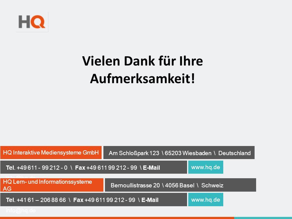 HQ Interaktive Mediensysteme GmbH Am Schloßpark 123 \ 65203 Wiesbaden \ Deutschland Tel.