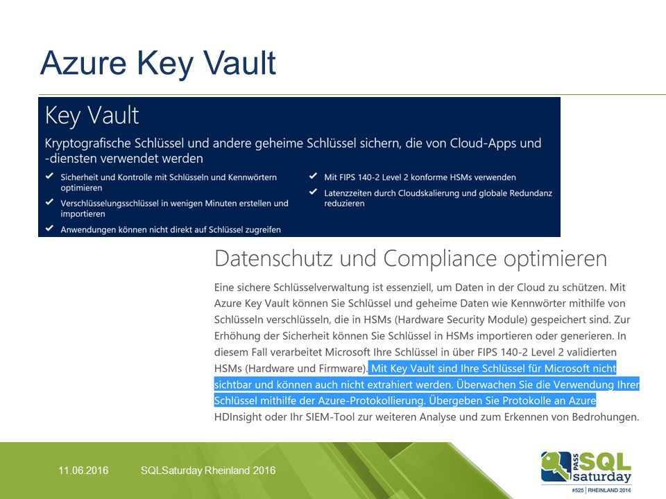 Azure Key Vault 11.06.2016SQLSaturday Rheinland 2016