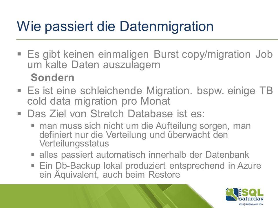 Wie passiert die Datenmigration  Es gibt keinen einmaligen Burst copy/migration Job um kalte Daten auszulagern Sondern  Es ist eine schleichende Migration.