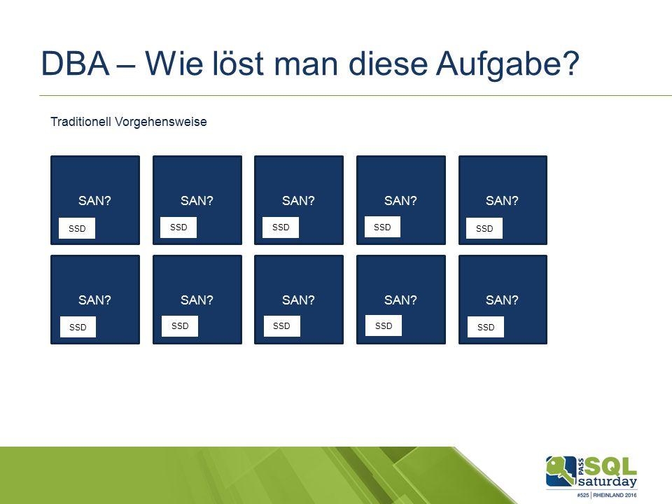 DBA – Wie löst man diese Aufgabe? SAN? SSD Traditionell Vorgehensweise