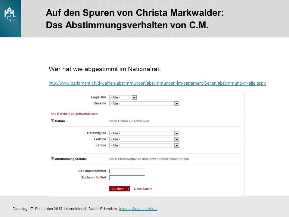 Auf den Spuren von Christa Markwalder: Das Abstimmungsverhalten von C.M.