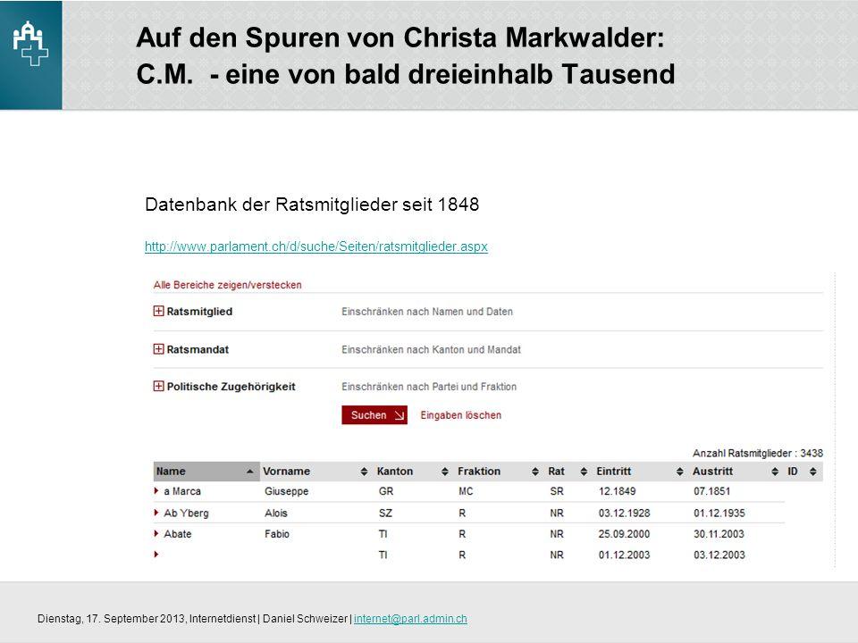 Auf den Spuren von Christa Markwalder: C.M.