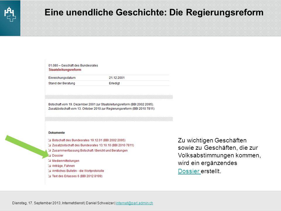 Eine unendliche Geschichte: Die Regierungsreform Dienstag, 17.