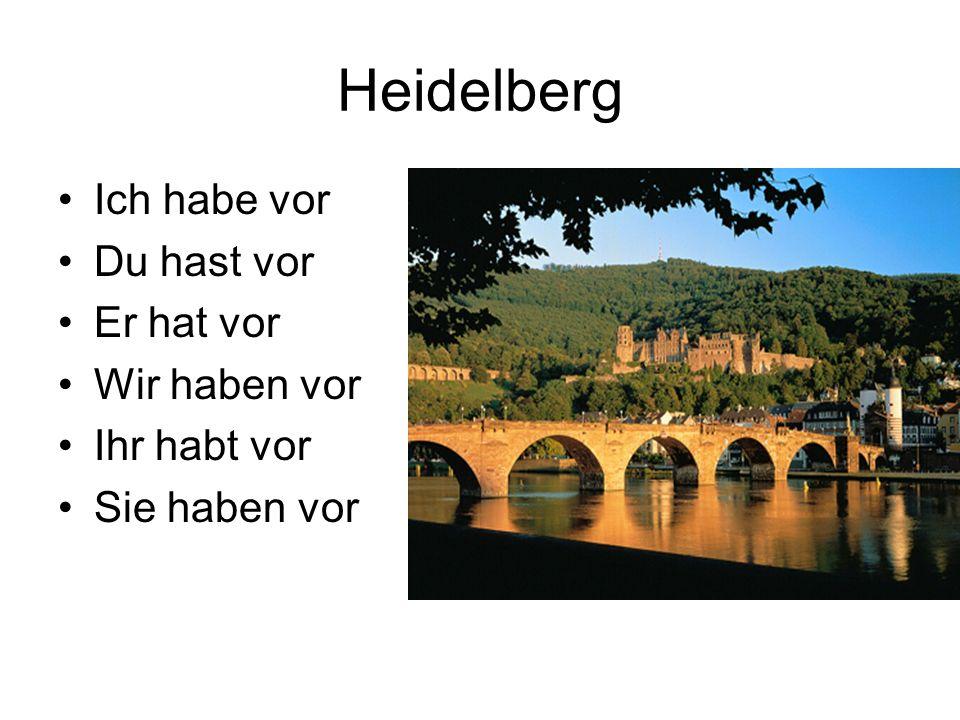 Heidelberg Ich habe vor Du hast vor Er hat vor Wir haben vor Ihr habt vor Sie haben vor