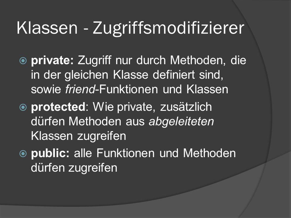 Klassen - Zugriffsmodifizierer  private: Zugriff nur durch Methoden, die in der gleichen Klasse definiert sind, sowie friend-Funktionen und Klassen  protected: Wie private, zusätzlich dürfen Methoden aus abgeleiteten Klassen zugreifen  public: alle Funktionen und Methoden dürfen zugreifen