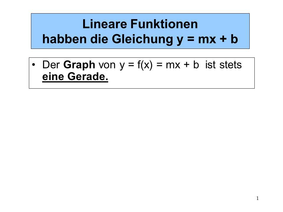 1 Lineare Funktionen habben die Gleichung y = mx + b Der Graph von y = f(x) = mx + b ist stets eine Gerade.