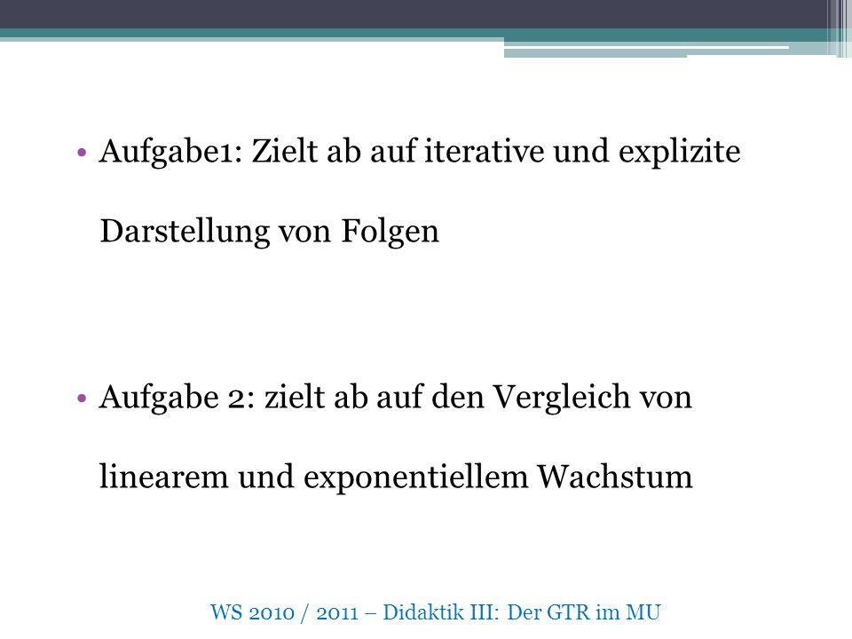 WS 2010 / 2011 – Didaktik III: Der GTR im MU Aufgabe1: Zielt ab auf iterative und explizite Darstellung von Folgen Aufgabe 2: zielt ab auf den Vergleich von linearem und exponentiellem Wachstum