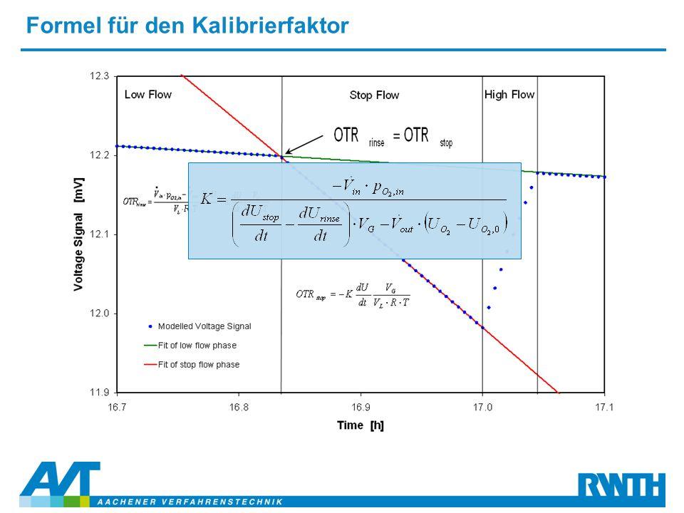 Formel für den Kalibrierfaktor