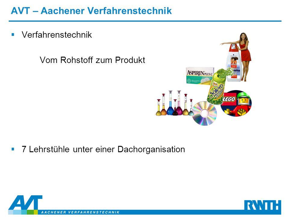 AVT – Aachener Verfahrenstechnik  Verfahrenstechnik Vom Rohstoff zum Produkt  7 Lehrstühle unter einer Dachorganisation