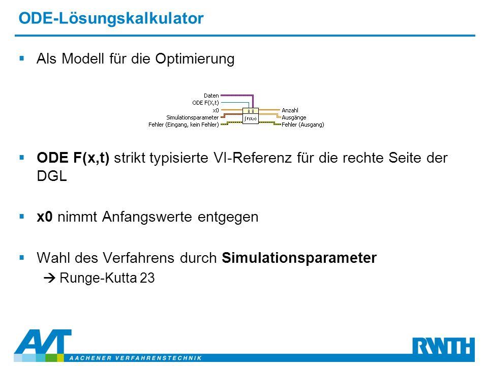 ODE-Lösungskalkulator  Als Modell für die Optimierung  ODE F(x,t) strikt typisierte VI-Referenz für die rechte Seite der DGL  x0 nimmt Anfangswerte entgegen  Wahl des Verfahrens durch Simulationsparameter  Runge-Kutta 23