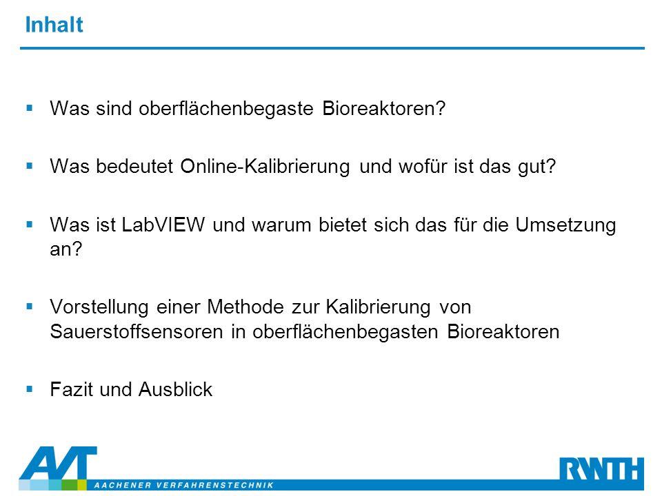Inhalt  Was sind oberflächenbegaste Bioreaktoren?  Was bedeutet Online-Kalibrierung und wofür ist das gut?  Was ist LabVIEW und warum bietet sich d