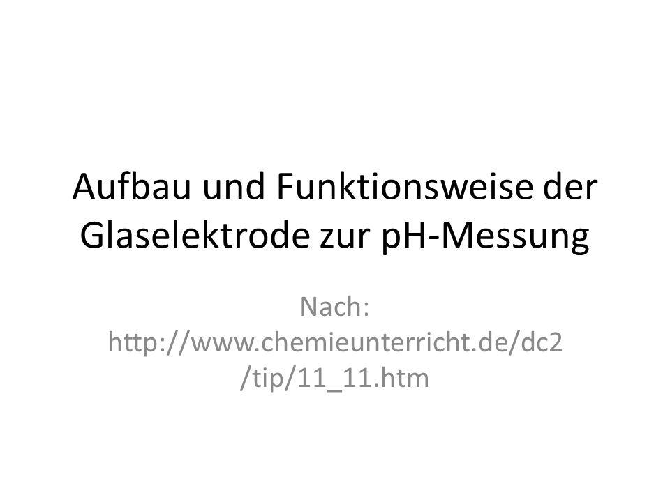Aufbau und Funktionsweise der Glaselektrode zur pH-Messung Nach: http://www.chemieunterricht.de/dc2 /tip/11_11.htm