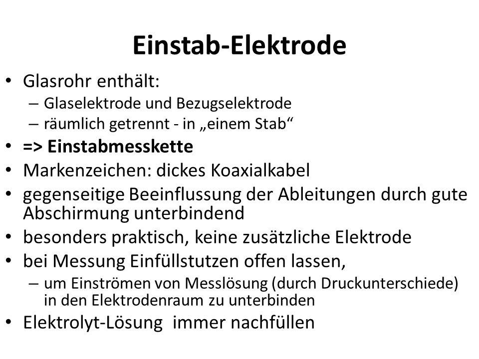 """Einstab-Elektrode Glasrohr enthält: – Glaselektrode und Bezugselektrode – räumlich getrennt - in """"einem Stab"""" => Einstabmesskette Markenzeichen: dicke"""