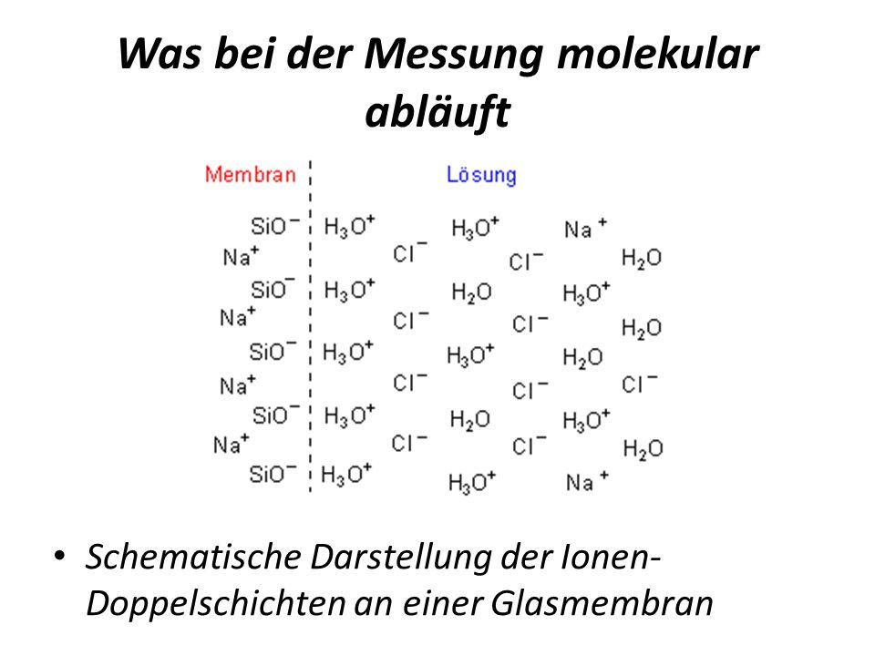 Was bei der Messung molekular abläuft Schematische Darstellung der Ionen- Doppelschichten an einer Glasmembran